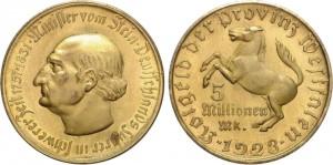 Notgeld da 5 milioni di marchi 1923 in bronzo, Westfalen, Germania