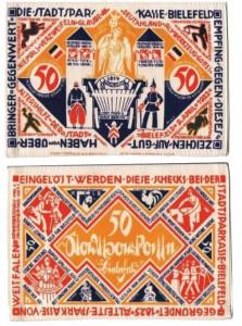 Notgeld da 25 marchi 15.7.1921 in seta, Bielefeld, Germania