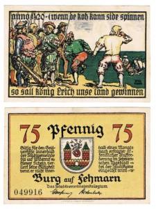 Notgeld da 75 pfennig, Burg Fehmarn, Germania