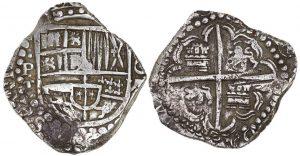 Otto reales in argento (27,19 g), zecca di Potosi
