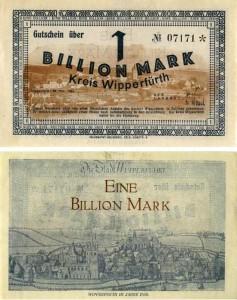 Papiergeld da 1 bilione di marchi 1923, Germania