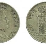 Piastra 1834 di Ferdinando II con contromarca BOMBA.