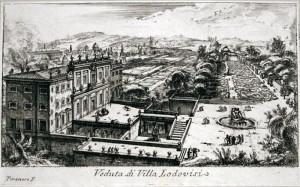 G.B. Piranesi, Veduta dall'alto di Villa Ludovisi a Roma con i suoi giardini, acquaforte, 1745.