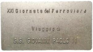 la placchetta dedicata al viaggio papale a Roma Salario