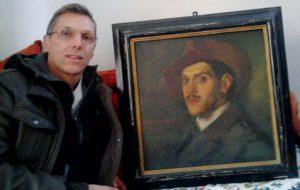 Damiano Cappellari con il ritratto di Alessandro Magnaguti.