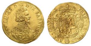 10 scudi in oro coniato da Vittorio Amedeo a Torino nel 1634