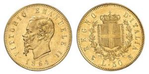 50 lire del Regno d'Italia del 1864
