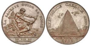 Senza indicazione del valore 1792 Ercole e Piramide, fratell Monneron (ex asta WAG 61)