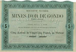 Certificato azionario miniera di Gondo