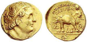 Statere in oro (7,01 g) di Tolomeo I, Cyrene 300-298 a.C., Rv in esergo silfio (ex asta NAC 52, 7.10.2009)
