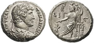 Tetradrammo BI -13 -44 g- di Adriano 131 d.C. - Alessandria d'Egitto -ex asta nomos 8-