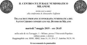 Iconografia numismatica del Santo Chiodo conservato nel duomo di Milano