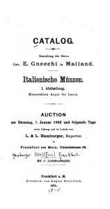 Catalogo Gnecchi 1902