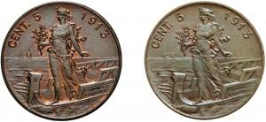 esemplari del 5 centesimi 1913 senza punto.