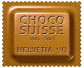 francobollo 2001 chocosuisse da 90 cent