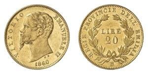 Lotto 482 - 20 lire battuta a Bologna nel 1860