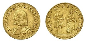 Lotto 523 - Ferrara, Alfonso I d'Este (1505-1534), doppio ducato d'oro