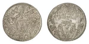 Lotto 715 - Ferrara, Clemente XI (1700-1721), piastra d'argento 1709