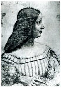 Leonardo da Vinci. Ritratto di Isabella d'Este Gonzaga (disegno a carboncino su carta bianca con tratti a sanguigna)