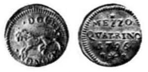 Mezzo quattrino del 1796 per Bologna