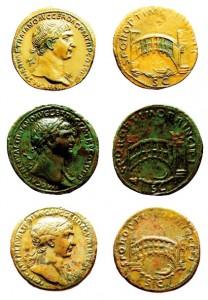 Monete di Traiano con raffigurazione del ponte sul Danubio