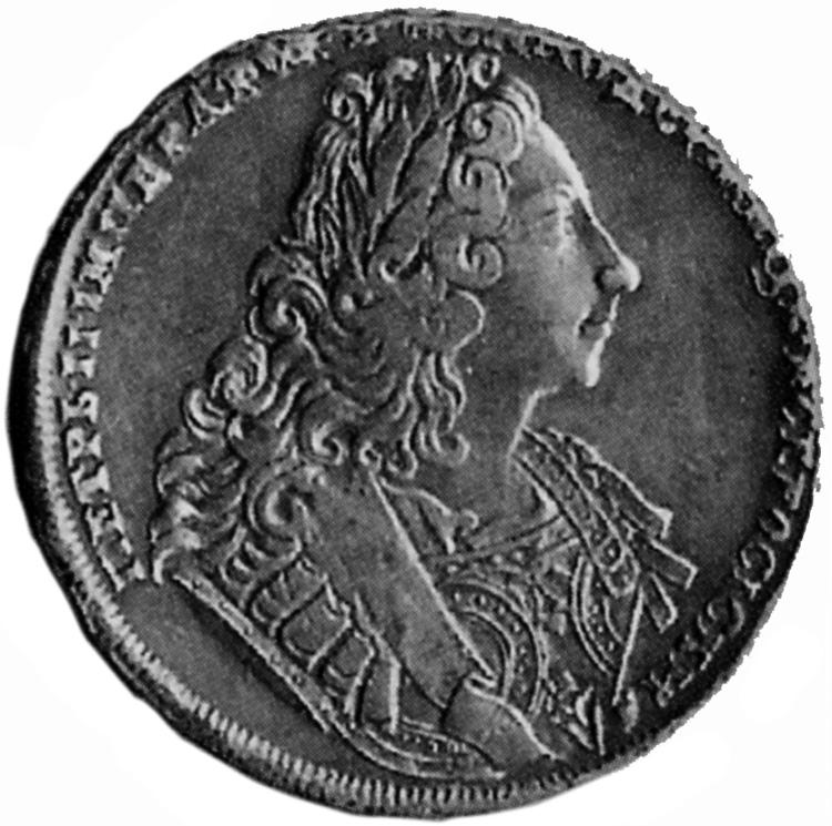 Diritto del rublo datato 1729