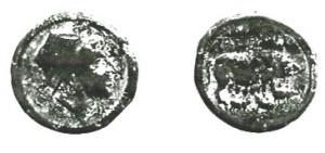 OBOLO italico. Fronte/testa di giovane vista di profilo Retro/Interessante immagine di scrofa che allatta tre porcellini