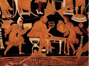 particolare del tesoriere raffigurato sul cosiddetto Vaso di Dario